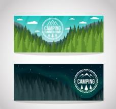 2款郊外野营帐篷风景banner矢量图