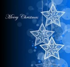 挂星星的蓝色圣诞背景
