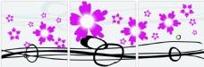 手绘花朵三联画模板下载