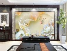白玉雕刻中国风电视背景墙设计素材
