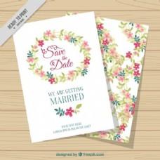 白色鲜花结婚卡