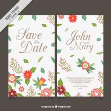 带有叶子和花朵细节的婚礼卡片