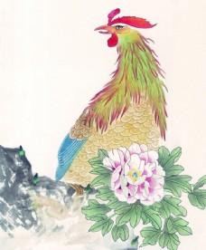 鸡国画图片