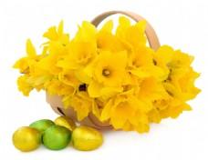鲜花与复活节彩蛋图片