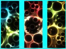 发光的抽象3垂直横幅与气泡