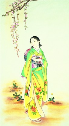 和服女人装饰画