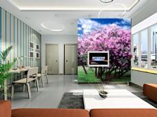 桃花背景墙