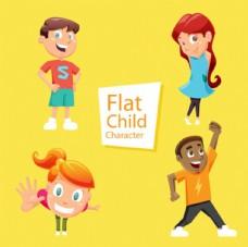四个儿童节快乐孩子插图