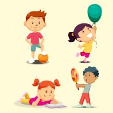 四个儿童节孩子插图