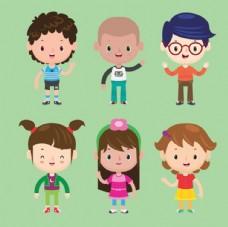 一组快乐儿童节卡通孩子插图