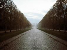笔直的石砖大道