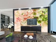 中国风风景画玉雕时尚背景墙设计素材模板