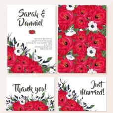 红色花朵婚礼卡片