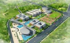 校园建筑规划设计鸟瞰图片