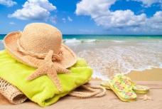 夏日沙滩美景图片