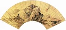 崇山萧寺图扇形装饰画