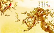 浮雕树木背景墙