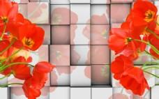 立方块花卉背景墙