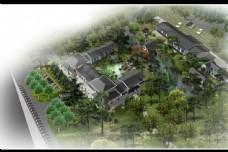 中国风古典建筑鸟瞰图片