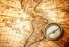 美洲地图与指南针图片