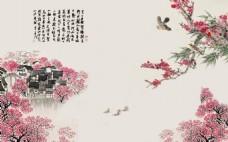 牡丹花卉复古装饰画