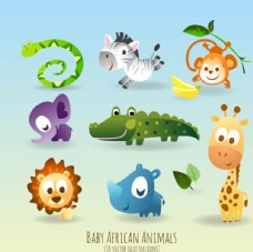 儿童节快乐可爱的卡通动物