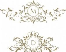 欧式花纹徽章矢量