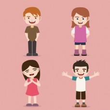 四个儿童孩子卡通形象
