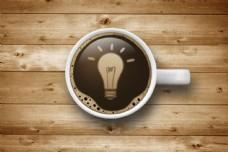 咖啡杯里的灯泡图片