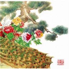 花朵迎客松装饰画