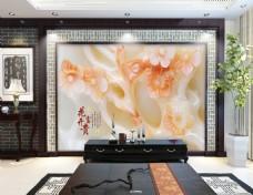 玉石雕刻花色客厅背景墙设计素材模板