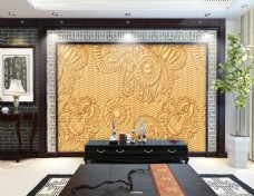 花纹纹理浮雕背景墙