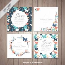 蝴蝶装饰婚礼卡片集