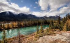 河流山峰树林风景油画图片