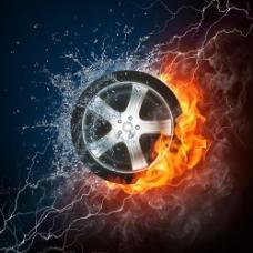 燃烧的轮胎图片