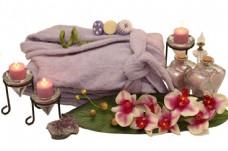 香薰蜡烛与鲜花图片