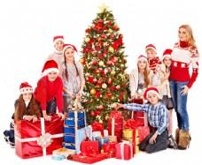 圣诞节儿童与圣诞树图片