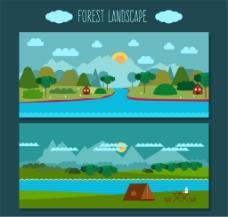 2款创意村庄河流风景banner矢量图