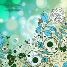复古花与泡泡背景和蝴蝶