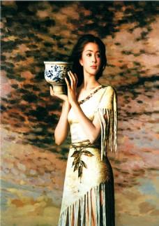 油画美女装饰画