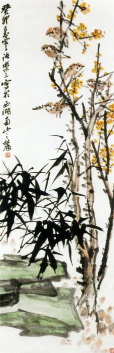 水墨鸟语花香装饰画