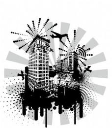 烟花城市剪影
