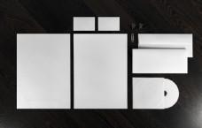 木板上的空白VI模板图片
