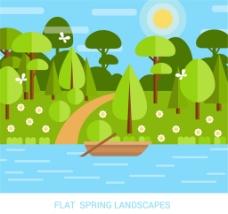 扁平化春季河里的船风景矢量素材