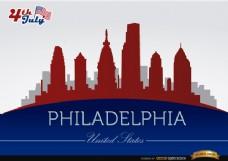 费城天际线7月4日纪念