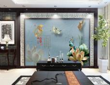 复古玉雕中国风电视背景墙设计素材