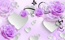 紫色玫瑰元素装饰画