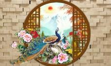 孔雀花卉背景墙