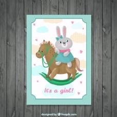 可爱的兔子与马婴儿淋浴邀请