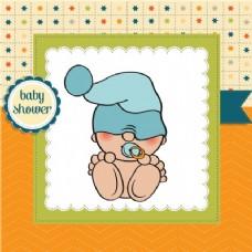 可爱婴儿淋浴卡